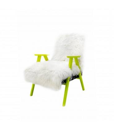 Fotel Futrzak Biały A'la Chierowski Furry White