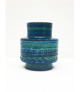 """Wazon ceramiczny z kultowej serii """"Rimini Blue"""" Projektu Aldo Londiego Dla Bitossi około roku 1960."""
