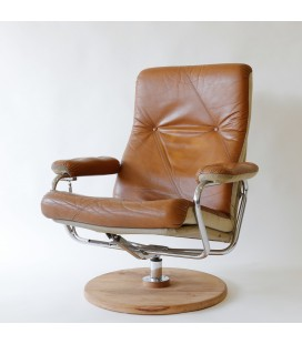 Fotel skórzany, konstrukcja chromowana, Dania, Lata 70-te.