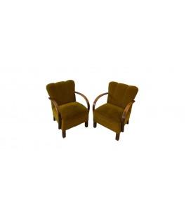 Para foteli oliwkowych. Thon/ Thonet- Czechosłowacja, Lata 60-te.