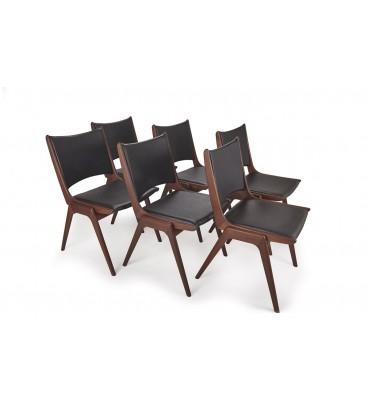 Komplet 6 teakowych krzeseł - Bramin - Dania, lata 60-te